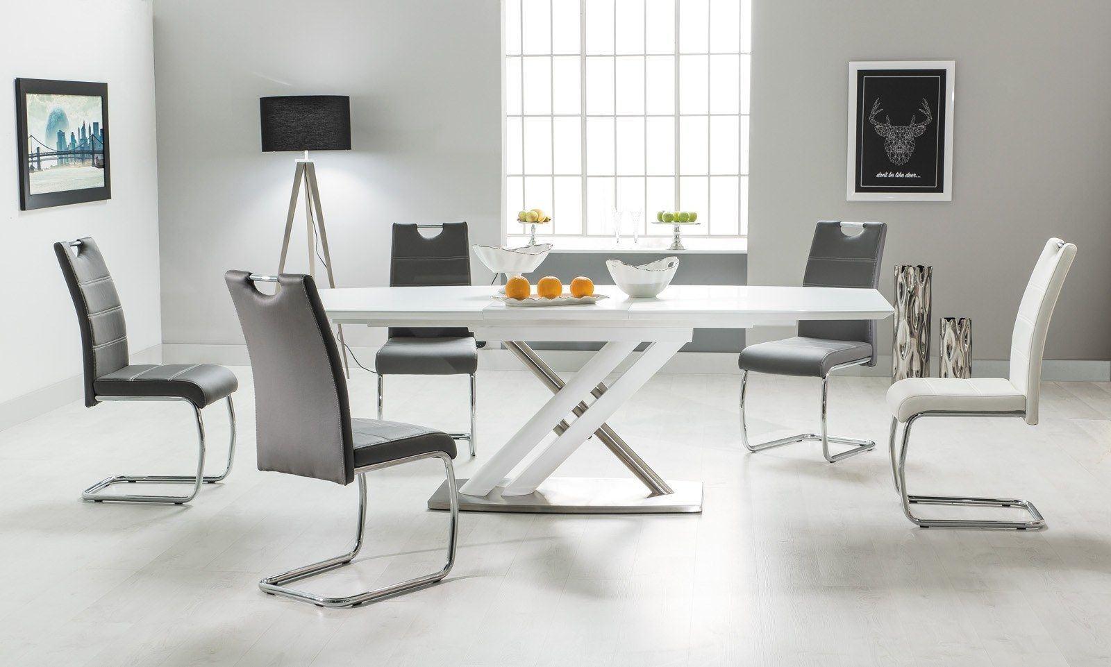 Esstisch Alzano modern mit edlen Fuß und Hochglanz Tischplatte in weiss.