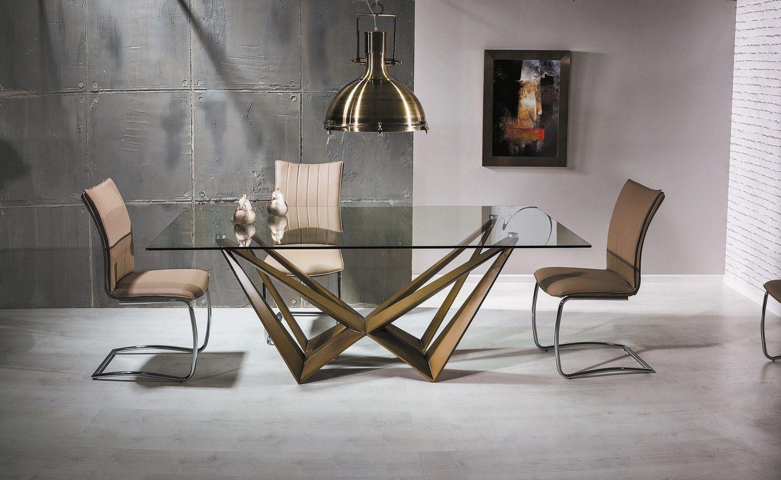 Moderner Esstisch Aston mit edlen Kupfer Metallfüßen und Glasplatte