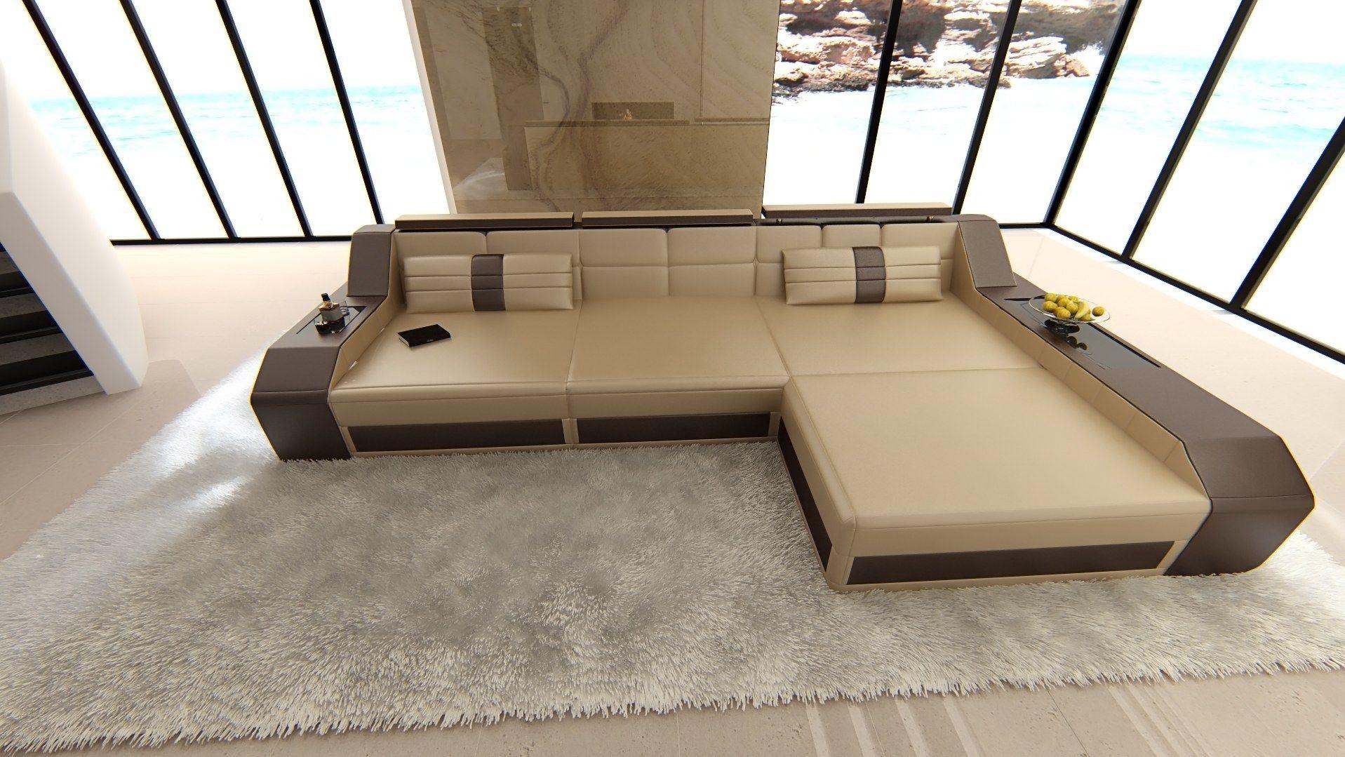 ledersofa arezzo l form sandbeige dunkelbraun. Black Bedroom Furniture Sets. Home Design Ideas