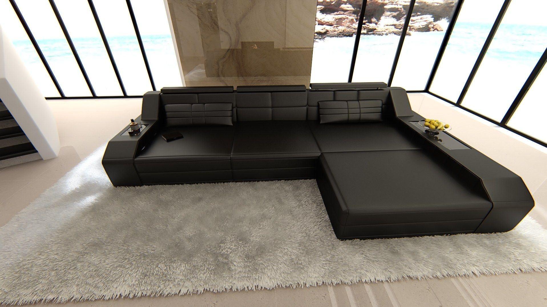 ledersofa arezzo l form schwarz schwarz. Black Bedroom Furniture Sets. Home Design Ideas