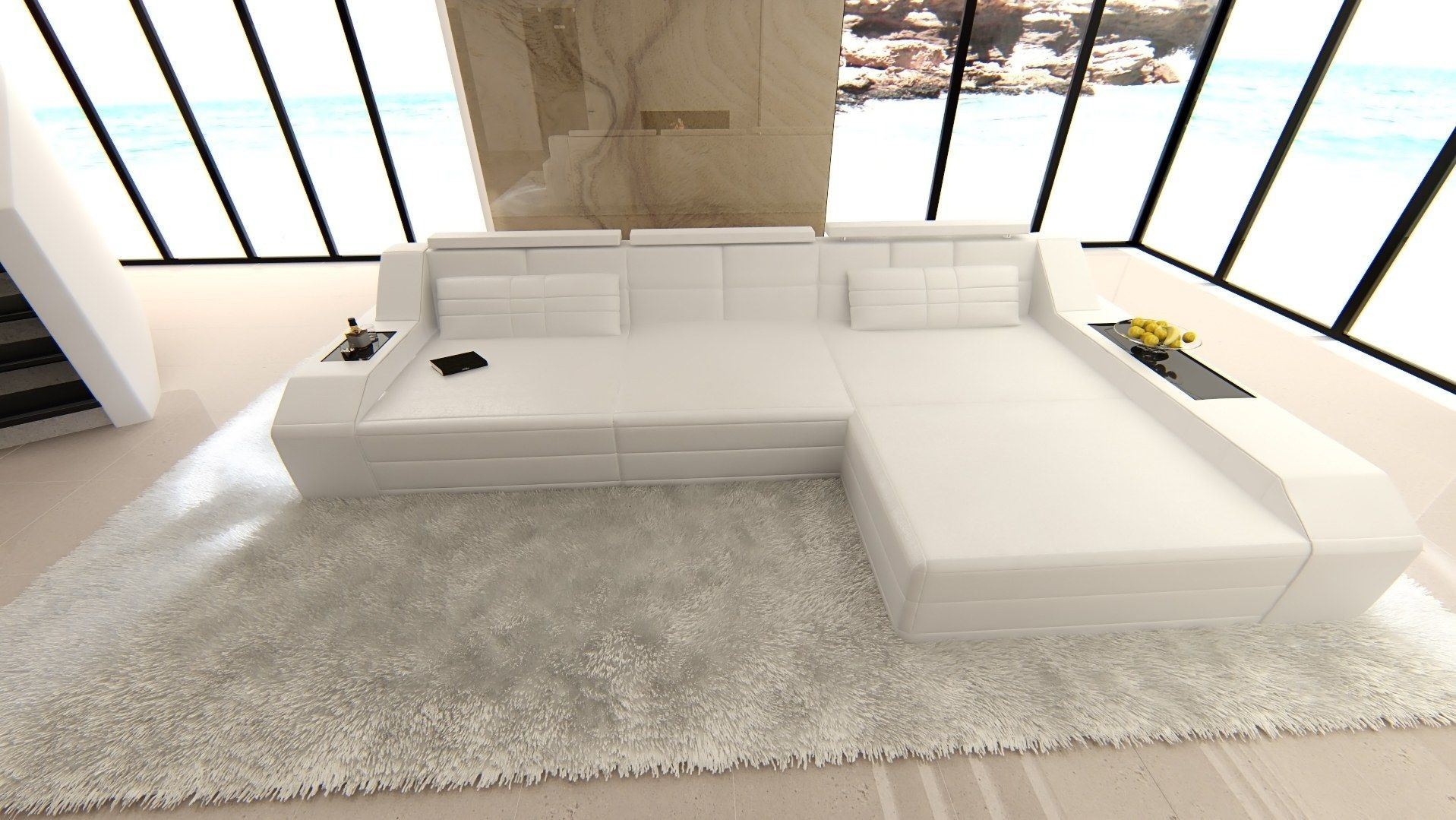 ledersofa arezzo l form weiss weiss. Black Bedroom Furniture Sets. Home Design Ideas