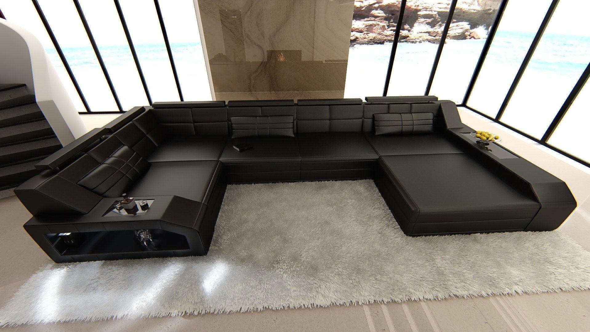 leder wohnlandschaft arezzo u form schwarz schwarz. Black Bedroom Furniture Sets. Home Design Ideas
