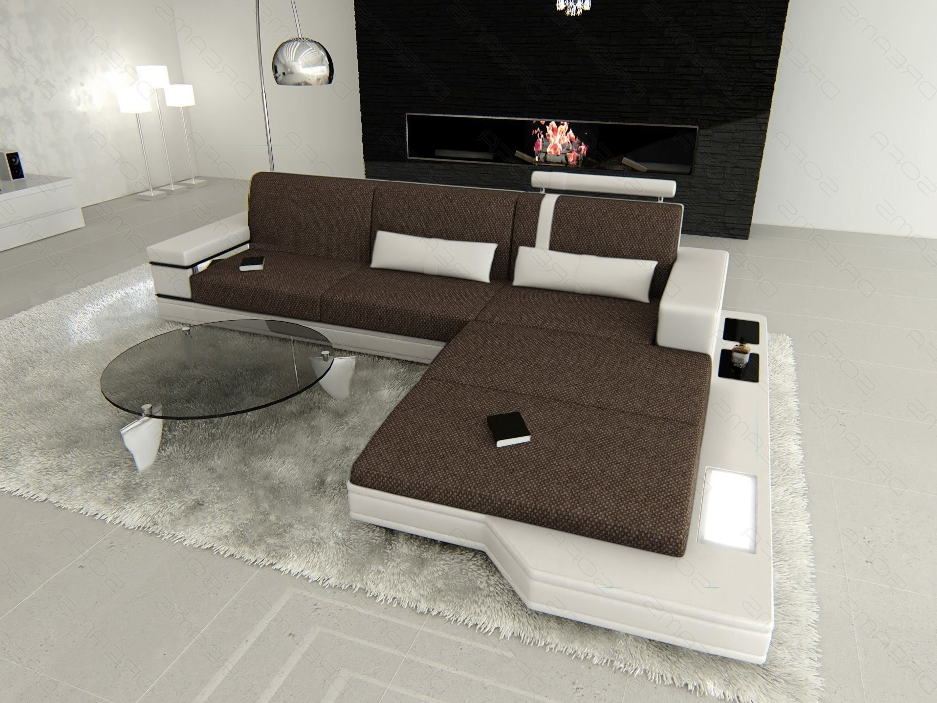 Sofa Messana L Form im Materialmix Hugo 8