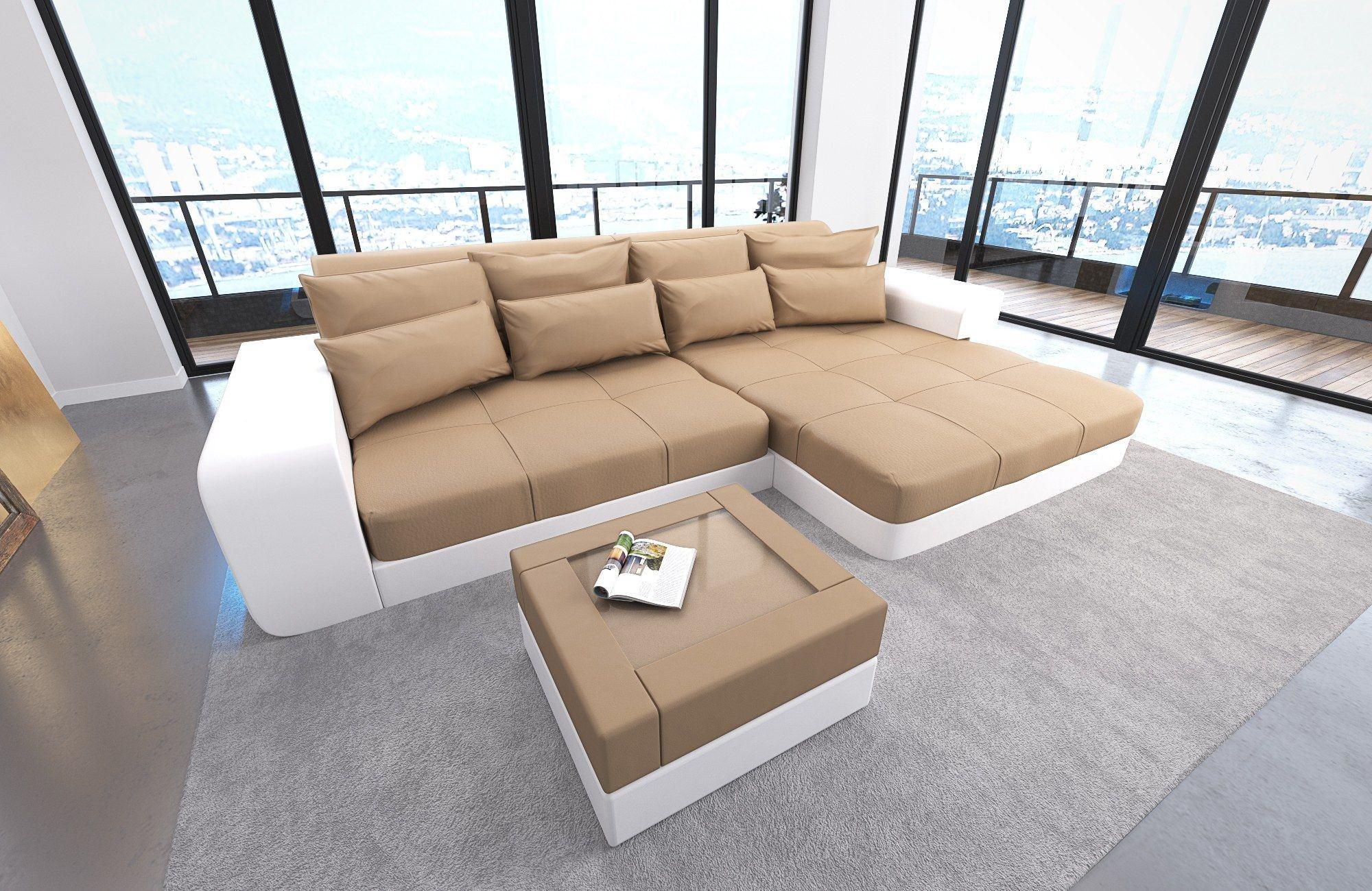 Luxus Bigsofa MILANO mit LED in sandbeige-weiss
