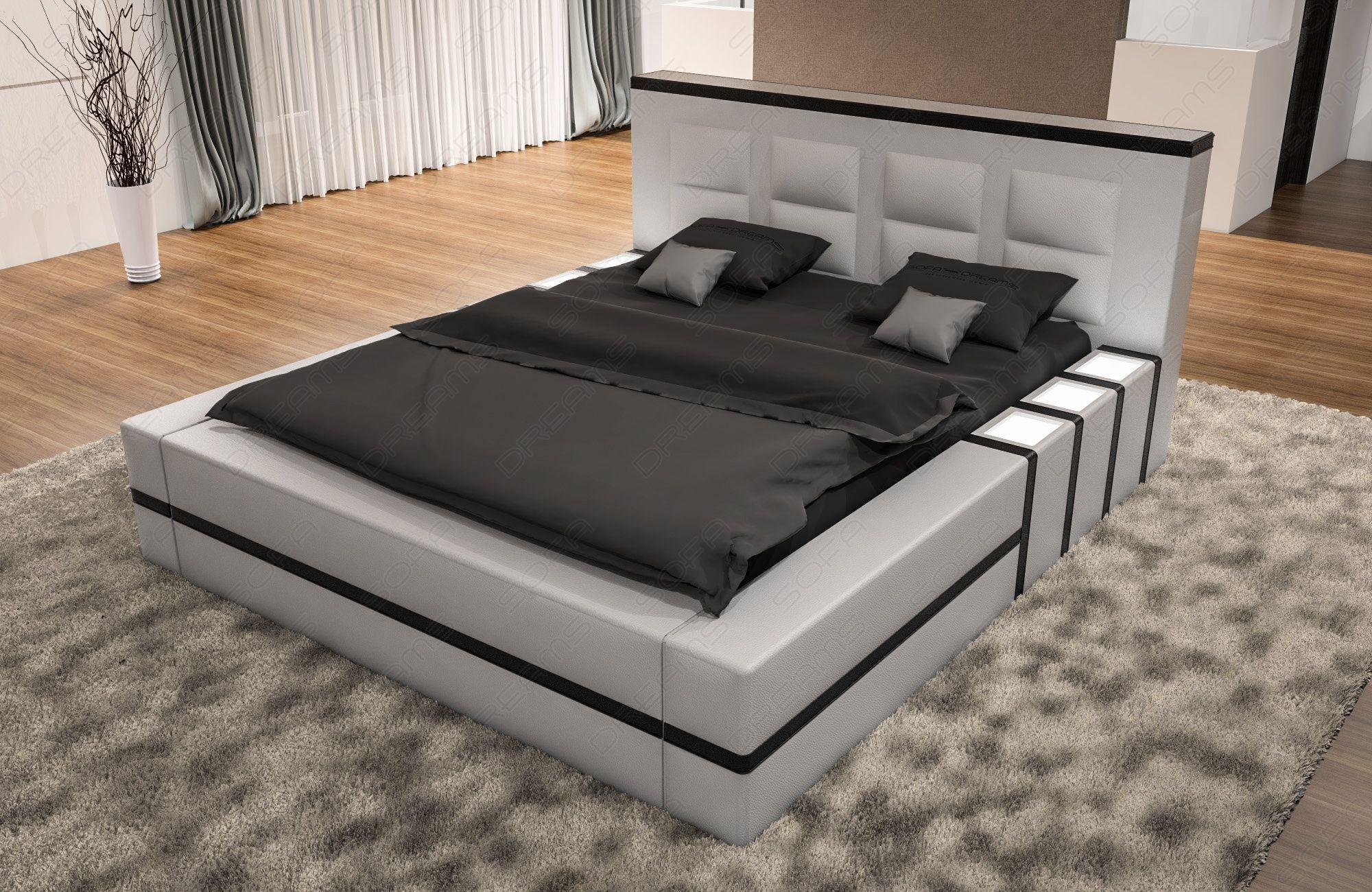 Luxus Bett Asti Komplett in weiss schwarz