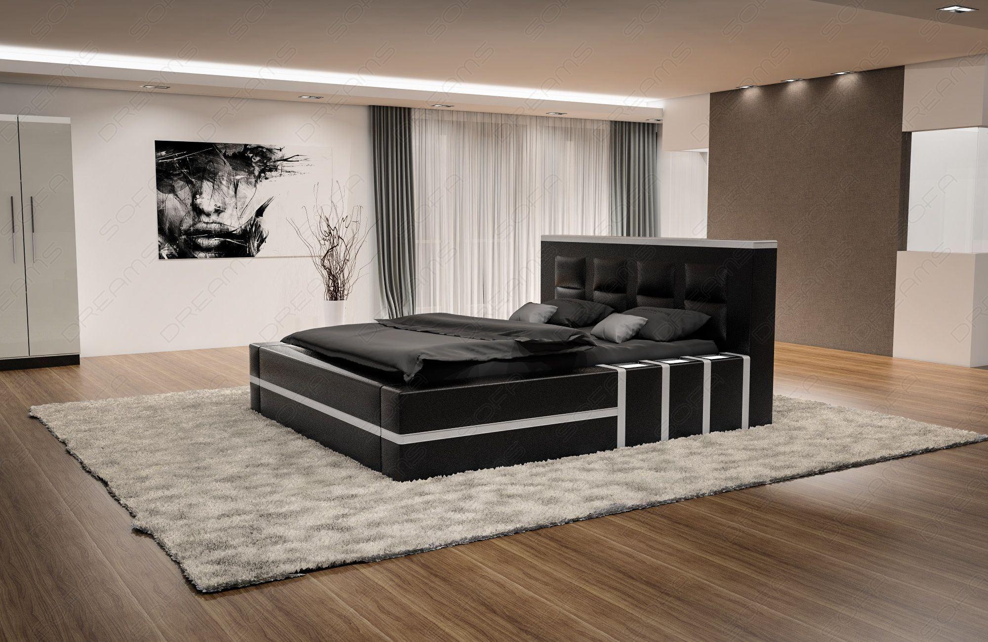 Designer Bett Komplett Asti schwarz weiss