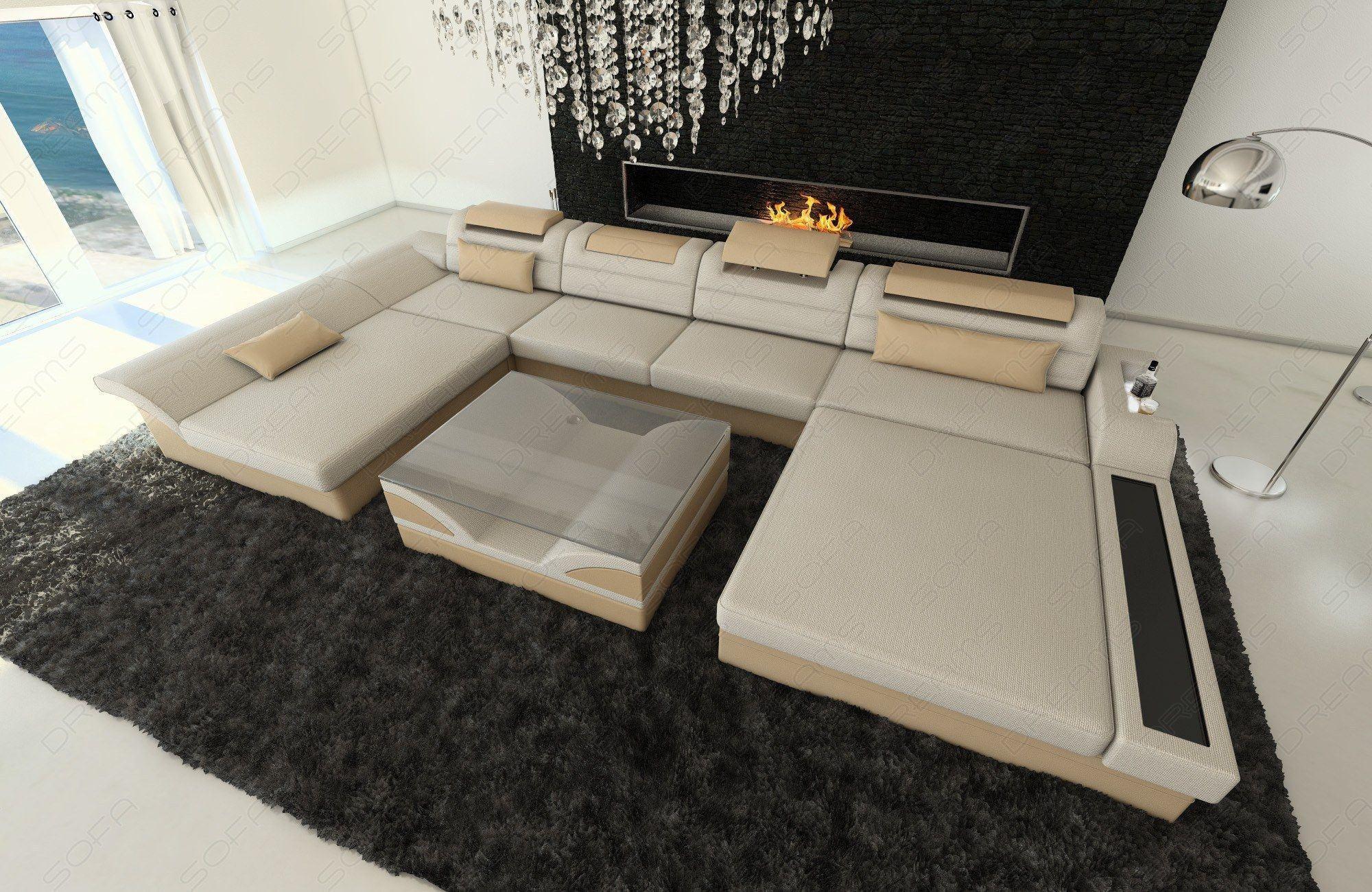 Couch Wohnlandschaft Monza in U Form im Materialmix Hugo 1