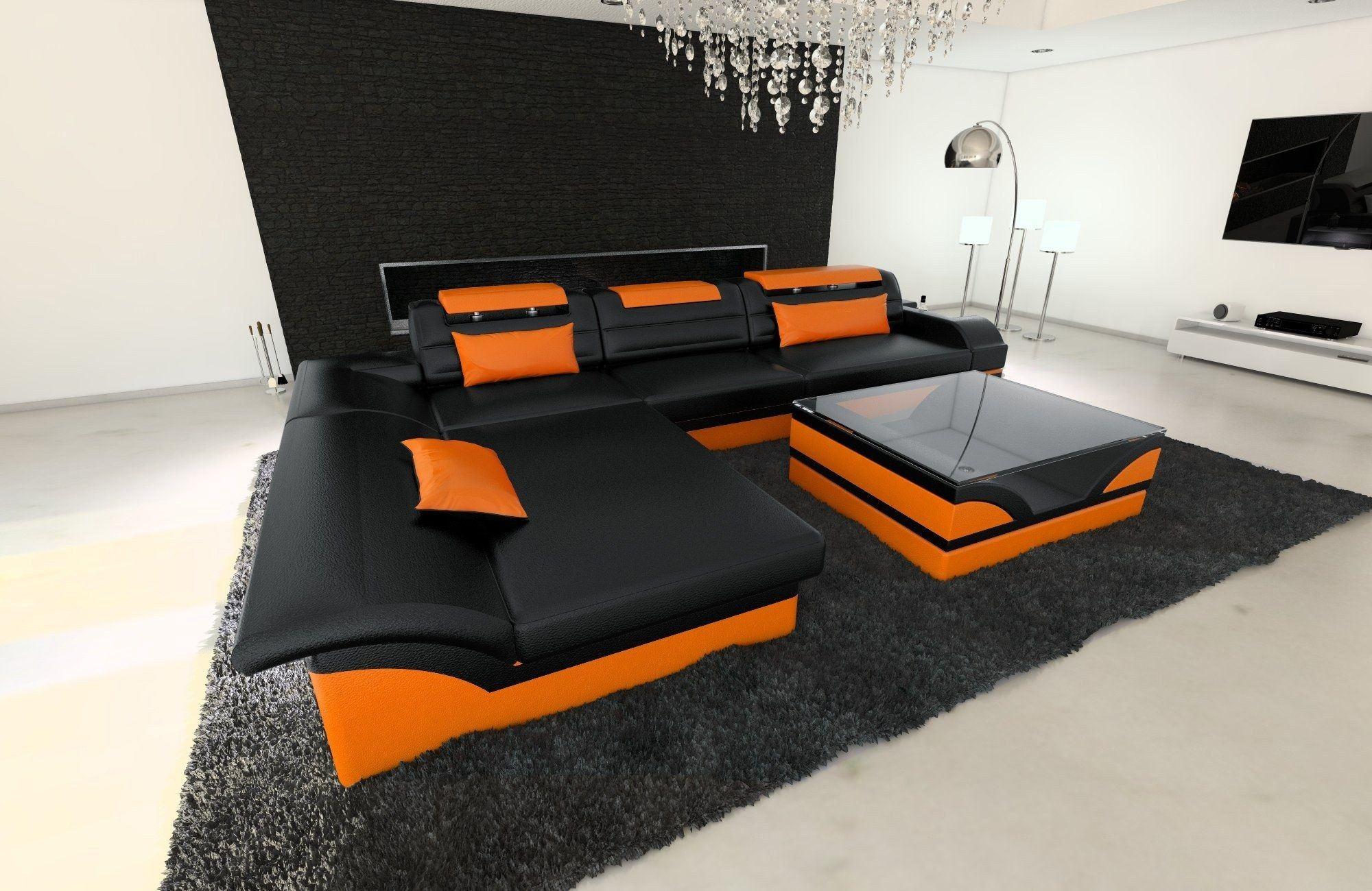 Ledersofa Monza L Form schwarz-orange