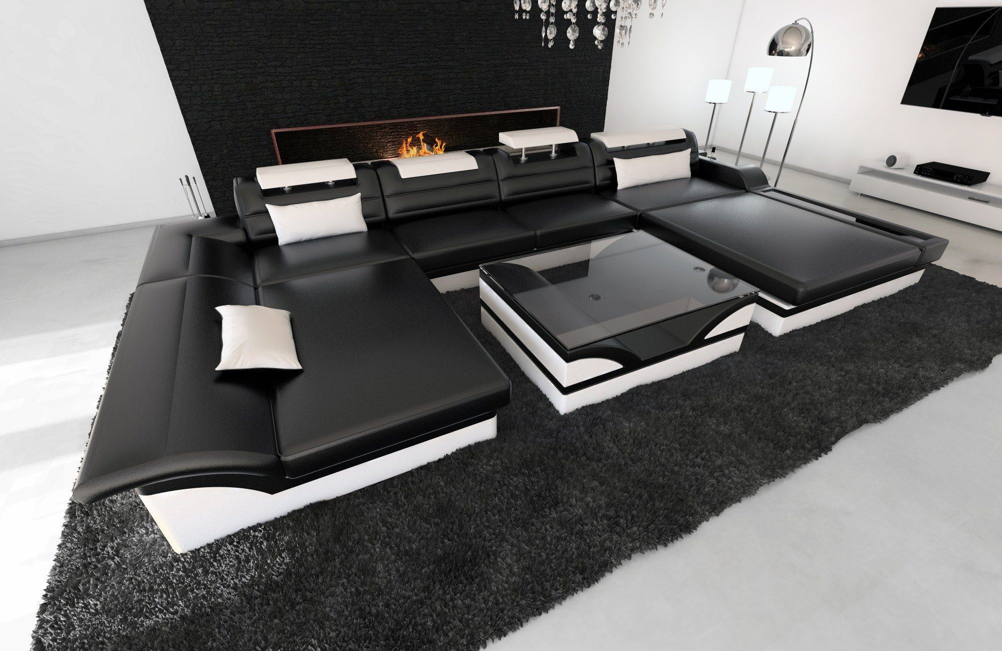 leder wohnlandschaft monza u form schwarz weiss. Black Bedroom Furniture Sets. Home Design Ideas