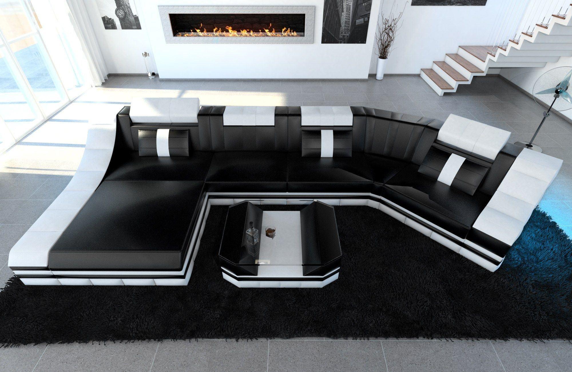 Leder Wohnlandschaft Turino C Form schwarz-weiss