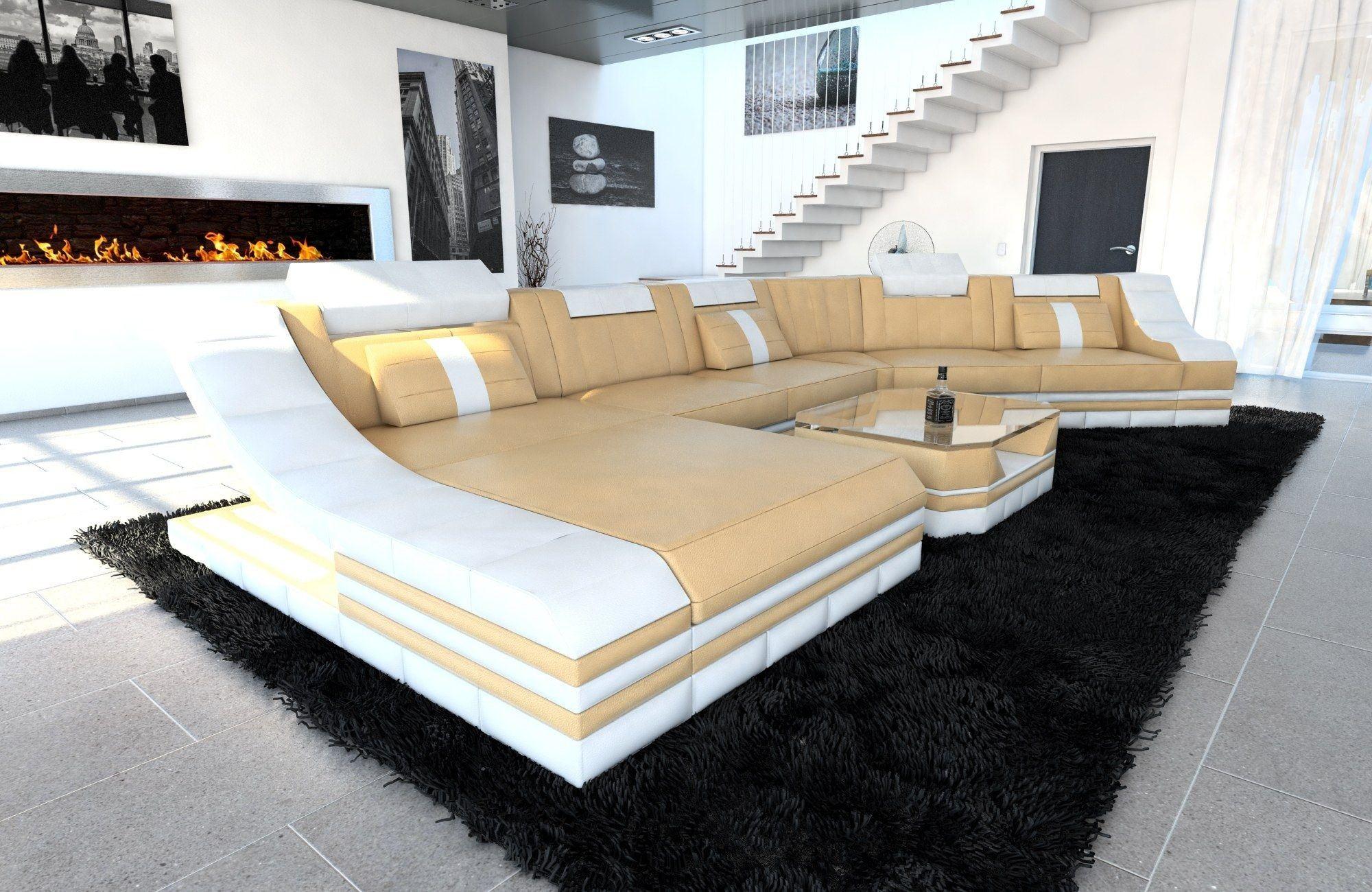 XXL Wohnlandschaft Turino CL Leder Sandbeige-Weiß