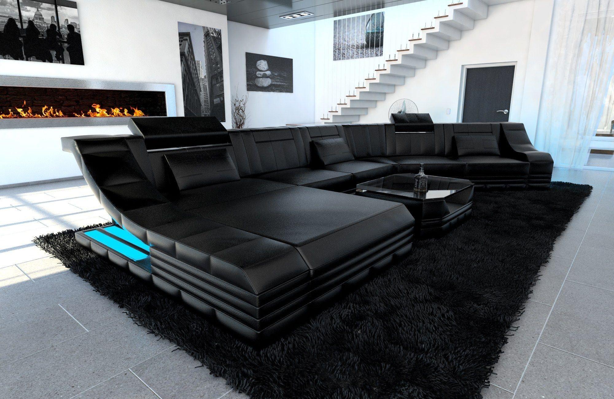 XXL Wohnlandschaft Turino CL Form schwarz-schwarz