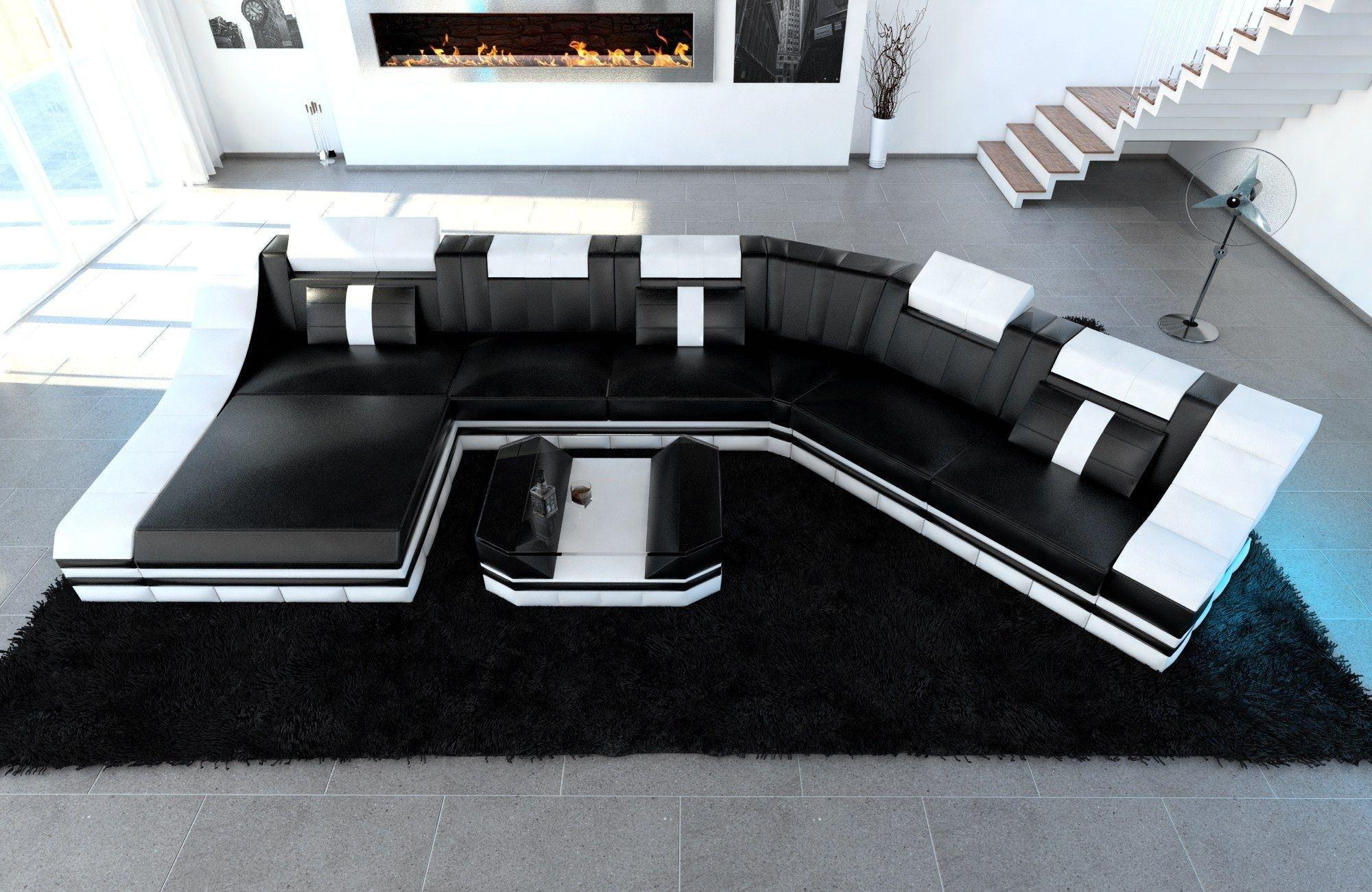 XXL Wohnlandschaft Turino CL Form schwarz-weiss