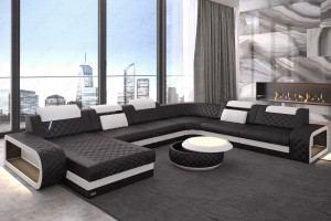 Designercouch XXL Chesterfield Ottomane Berlin - Farbe schwarz-weiss