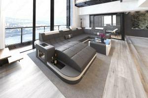 Designer Wohnlandschaft Wave mit Beleuchtung grau-weiss