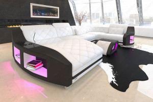 Leder Sofa Swing U Form mit Ottomane - weiss-schwarz