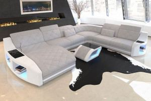 Stoff Couch Swing XXL mit LED Beleuchtung in Hugo 2 - macchiato