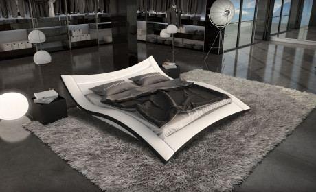 Designerbett Ancona weiss-schwarz