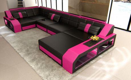 Leder Wohnlandschaft Arezzo U Form schwarz-pink