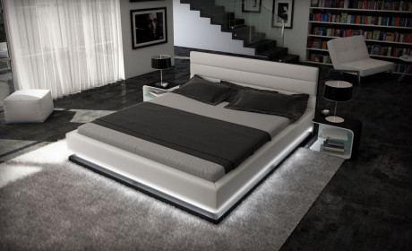 Designerbett Moonlight weiss schwarz 180x200