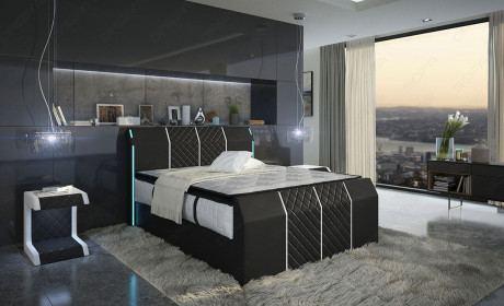 Hotelbett Paris schwarz-weiss mit LED Beleuchtung
