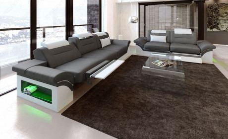 Sofagarnitur mit Relaxfunktion Monza 3er und 2er mit Beleuchtung grau-weiss
