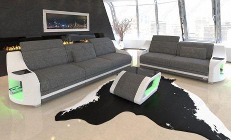 Couchgarnitur Swing mit verstellbaren Kopfstützen Webstoff Hugo 5 - grau