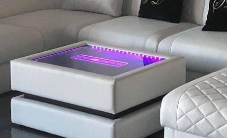 Leder Couchtisch Heat mit Gravur und akkubetriebener Beleuchtung
