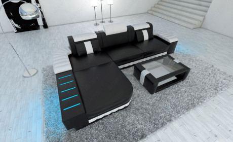 Sofa Echtleder Bellagio L Form schwarz-weiss