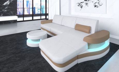 Designer Couch Modena L Form LED weiss-sandbeige