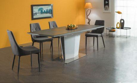 Esstisch Mantra mit Tischplatte in anthrazit. Ausklappbar auf 210cm. Mit edlen Fuß in schwarz-weiss glänzend.