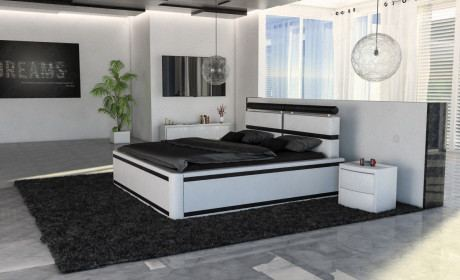 Design Bett Luxus Bett Venedig weiiss-schwarz