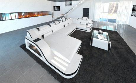Sofa Wohnlandschaft Palermo LED in der Farbe weiss-schwarz