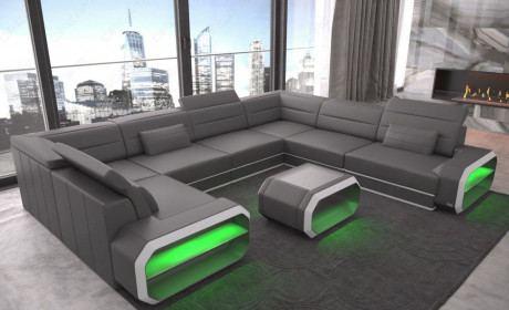 Design Sofa Verona U in grau-weiss