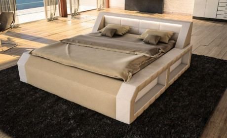 Designerbett Matera Komplett in weiss sandbeige