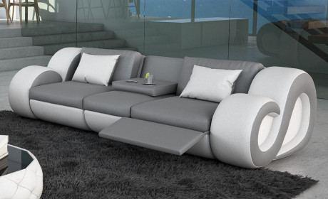 3 Sitzer Sofa NESTA grau mit Beleuchtung und Relaxfunktion