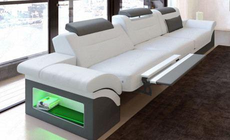 Dreisitzer Ledercouch Monza LED in weiss-grau