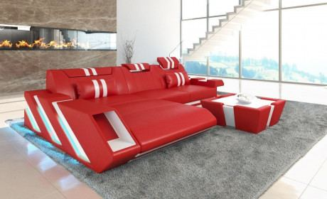 Luxus Sofa Leder Apollonia L Form mit LED Beleuchtung rot-weiss