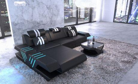 Leder Sofa modern in L Form Eckcouch mit Licht - schwarz