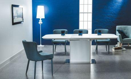 Esstisch Esszimmer Tisch Olbia in weiss mit Tischplatte aus gehärtetem Glas