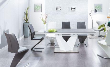 Tisch Küche Luxor modern mit ausziehbarer Tischplatte in anthrazit.