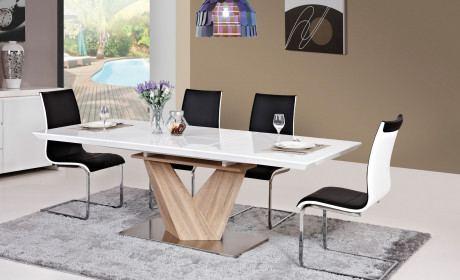 Esstisch Luxor modern mit edler Tischplatte in weiss hochglanz und Holzfuss.