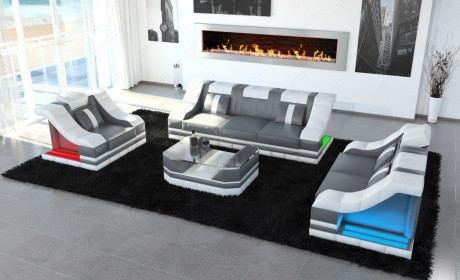 Leder Sofa Garnitur Turino 3-2-1 LED Beleuchtung in grau-weiss