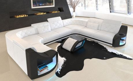 Couch in Leder Wohnlandschaft Genua mit verstellbaren Kopfstützen in weiss - schwarz