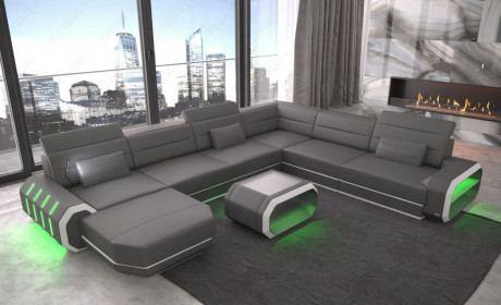 Luxus Wohnlandschaft Roma XXL mit LED Beleuchtung - grau-weiss