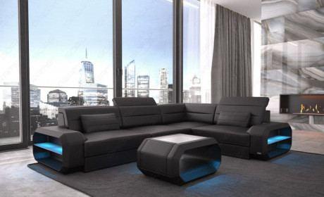 Design Couch Leder Verona LED Beleuchtung - schwarz