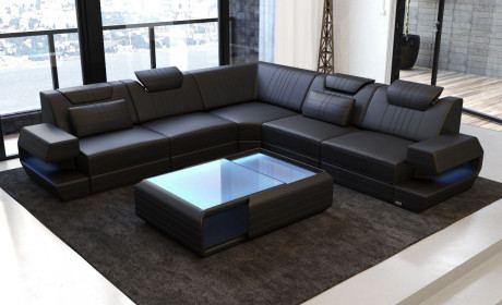 Ledercouch Ragusa L Form modern schwarz mit LED Lampen RGB