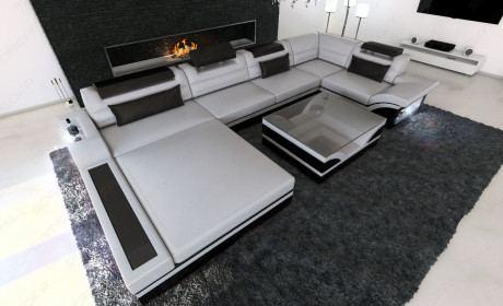 Luxus Wohnlandschaft Mezzo U Form mit LED grau-schwarz