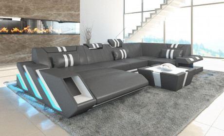 Sofa Wohnlandschaft Apollonia U Form grau-weiss