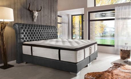 Luxus Boxspringbett LUXOR grau